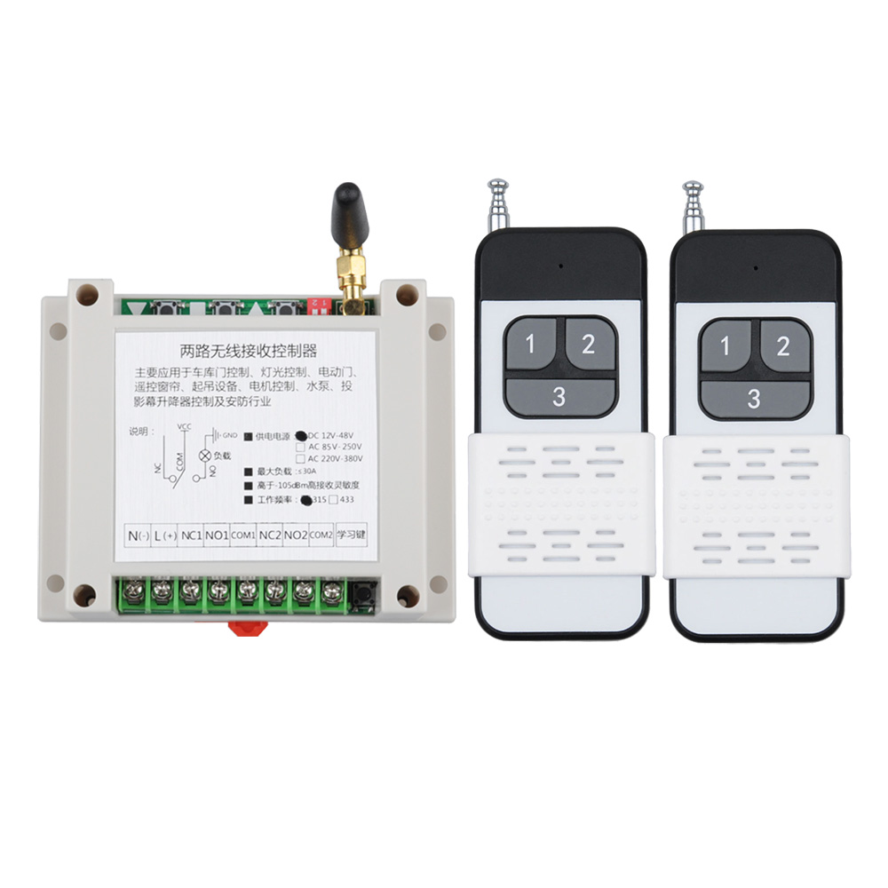 500m-1000M DC12V 24V 36V 48V 40A RF Wireless Remote Control Power Switch Radio Controller Transmitter Receiver with Antenna Radio Remote Control Industrial Remote Control Switch Long Distance Range