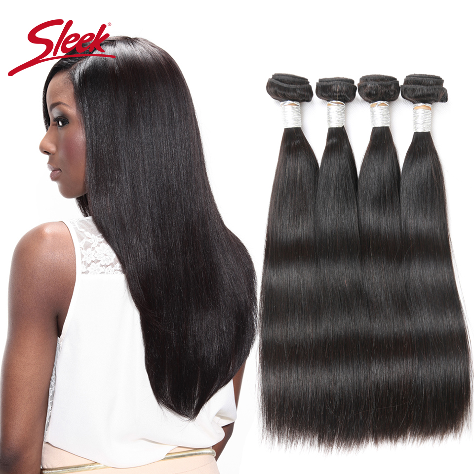 Sleek Hair Peruvian Straight Hair Weave 3 Bundles 8 To 30 Inches Extension 100% Natural Remy Human Hair Can Buy 3 Or 4 Bundles