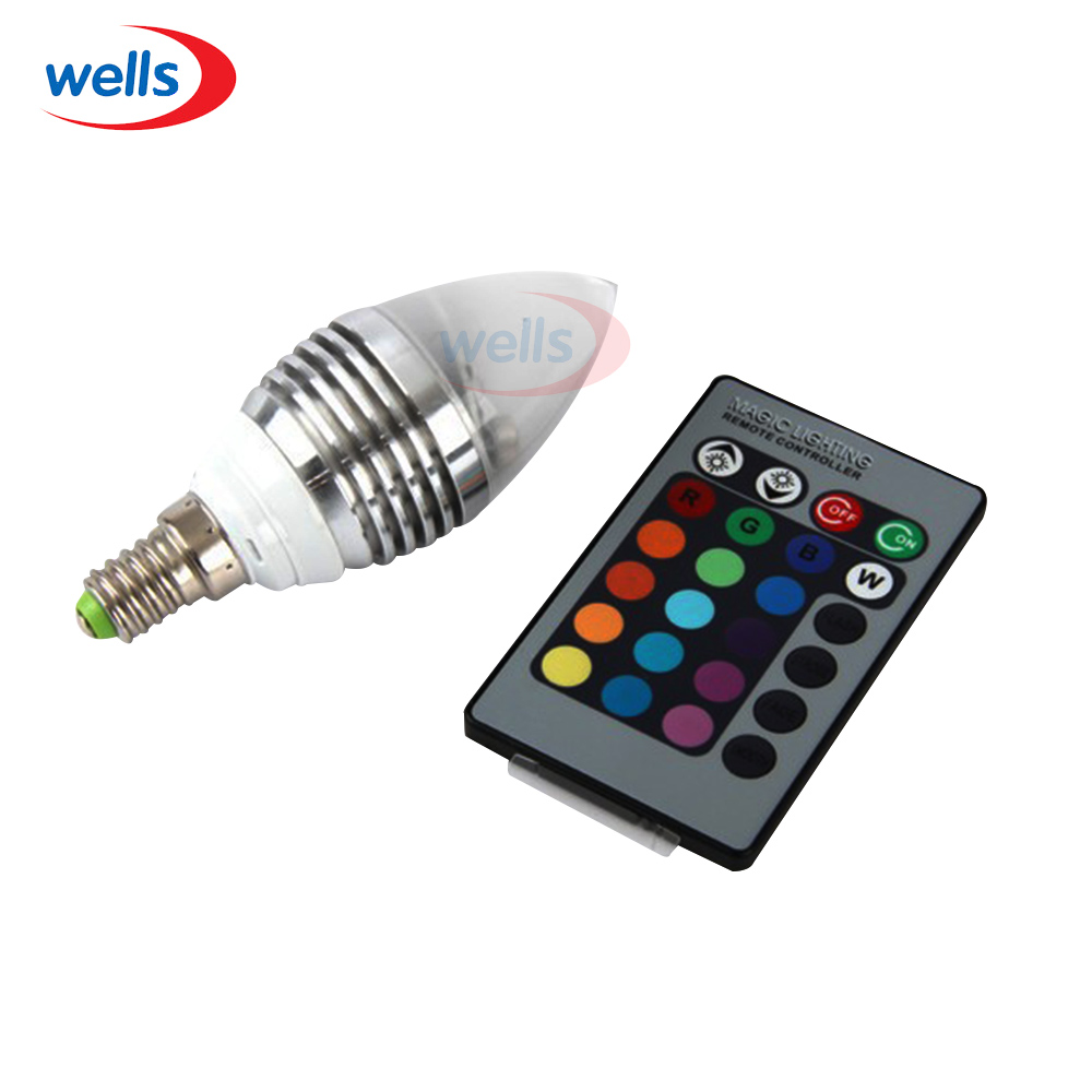 110 240v 3w E14 16 Color Changing Rgb Candle Led Light Bulb Lamp With Remote In Led Bulbs