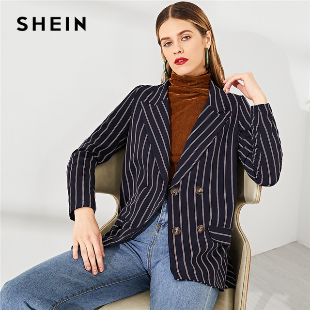 d5bafb86cc SHEIN Navy Modern Lady Office Lady Double Breasted Notched Neck Elegant  Striped Blazer 2018 New Autumn Women Coat And Outerwear