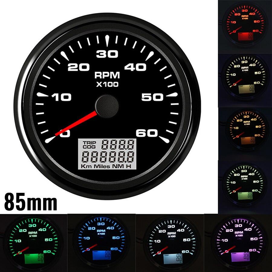 Tac/ómetro Medidor de RPM con contador de horas para coche cami/ón barco yate 0/ /8000RPM 85/mm con retroiluminaci/ón