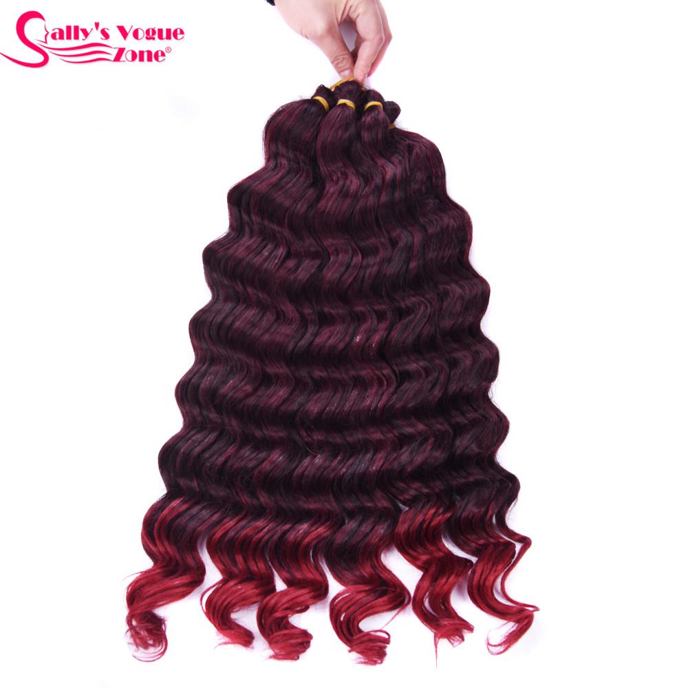 Sallyhair High Temperature Synthetic Deep Wave Twist Crochet Braids Black Color Bulk Hair Extension  (20)
