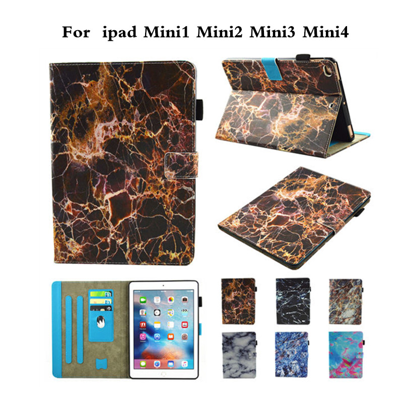 Marbling Style Case for iPad Mini 1 2 3 4 Retina Painting Flip PU Leather Card Holder Stand Cover Funda for iPad Mini2 Mini3 7.9