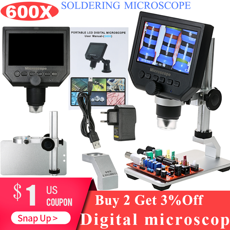 600X Digital Microscope Electronic Video Microscope 4 3 Inch HD LCD Soldering Microscope Phone Repair Magnifier