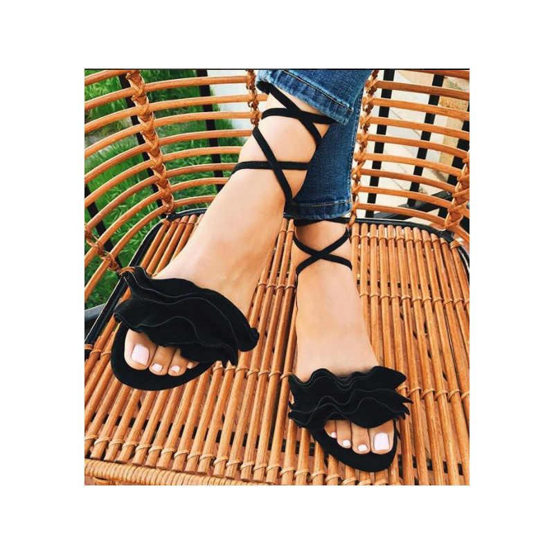 SLYXSH รองเท้าสตรี Ruffles รองเท้าผู้หญิง Cross Bandage รองเท้าแตะฤดูร้อนรองเท้าลูกไม้ Lace - up ข้อเท้า Sandalias