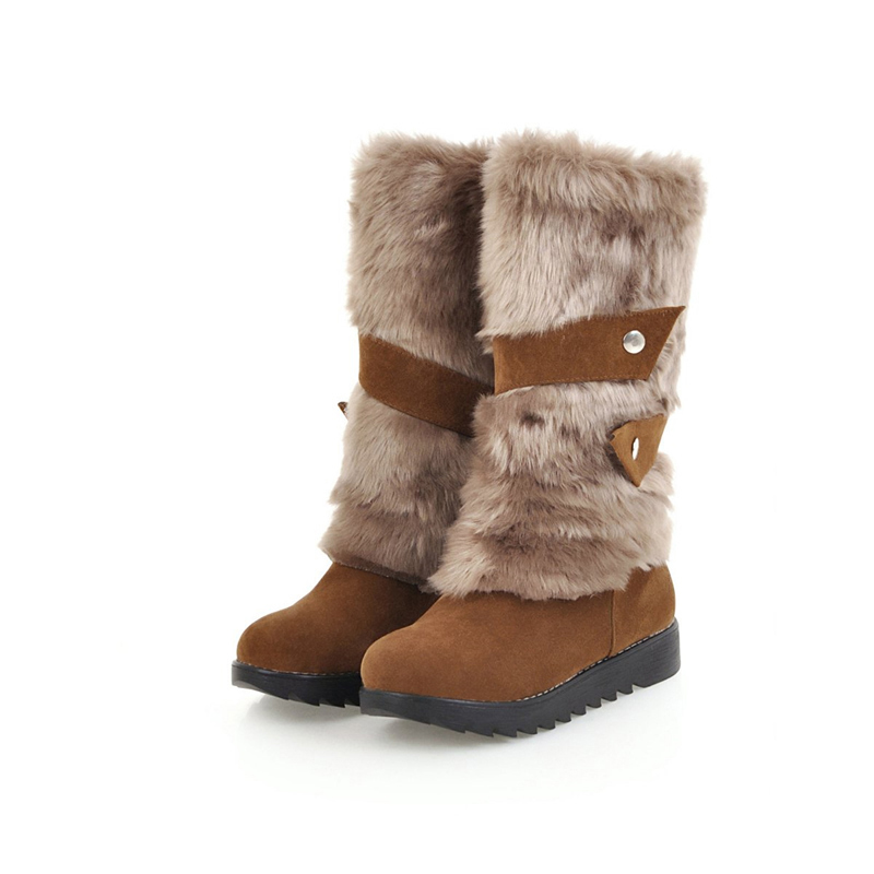 цена на 2018 Women Plus Size 43 Winter Warm Snow Boots Female Plush Rabbit Fur Felt Boots Lady Mid Calf Flats Bottes Molles Brown Shoes