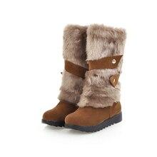 2018 mujeres más tamaño 43 Invierno Caliente nieve botas mujer felpa conejo  botas de fieltro señora ec41b3f245d