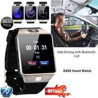 Ücretsiz Kargo Sıcak Satış Cep Telefonu İzle Siyah DZ09 Smartwatch Son Kart Bluetooth Destek Android Apple Sistemi