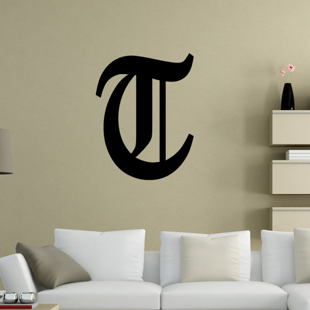 letter t sticker old english vinyl wall sticker decal art deco mural