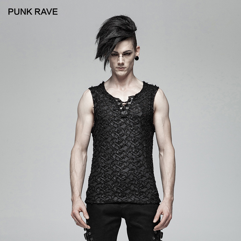PUNK RAVE Punk Rock Men's Sleeveless Streetwear Black Cool Summer Vest Fashion Casual Gothic Men Tank Tops