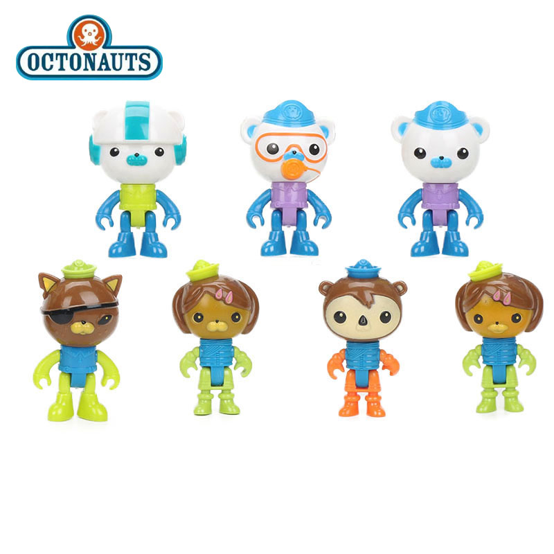 7pcs/set Octonauts Figure Set Captain Barnacles kwazii Peso Shellington Dashi Tweak Tunip Professor Inkling Model Dolls Toys 8pcs set the octonauts cartoon action figures kids toys captain barnacles medic peso model children birthday gifts with box