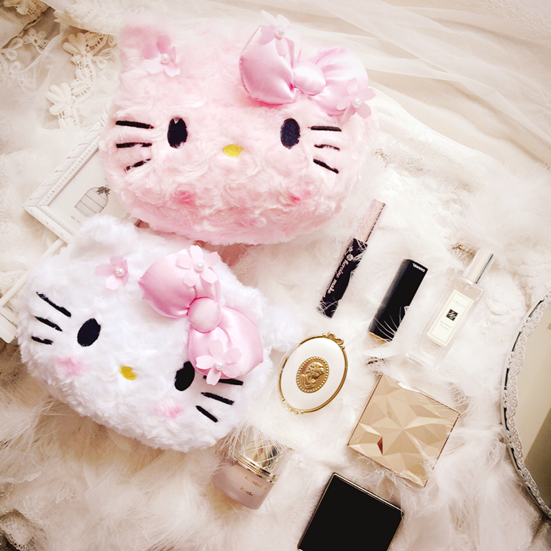Cartoon Cute Hello Kitty My Melody Cosmetic Bag Women Bowknot Storage Makeup Bag For Girls Gifts