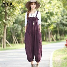 Vintage Large Loose Fit Womens Denim Jumpsuits Overalls Casual Wide Leg Pants Jeans Female Solid Color Spaghetti Rompers Women