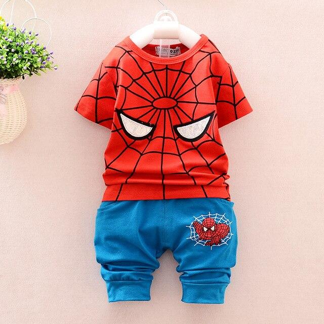 baby boys clothing sportswear 2 pcs summer kids clothes spiderman printing children t shirts