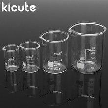 Kicute 4 шт./компл. косметика парфюмерия диспенсер 5 мл 10 мл 25 мл 50 мл Стекло прозрачный стакан Градуированный боросиликатный мерный стакан школьной лаборатории учебные принадлежности