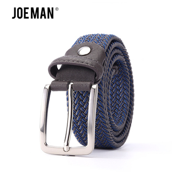 Mixed Color lastic Stretch Belt Braided Knitted Stretch Belts Elastic Belt Men Woven EWith Covered Buckle1-3/8