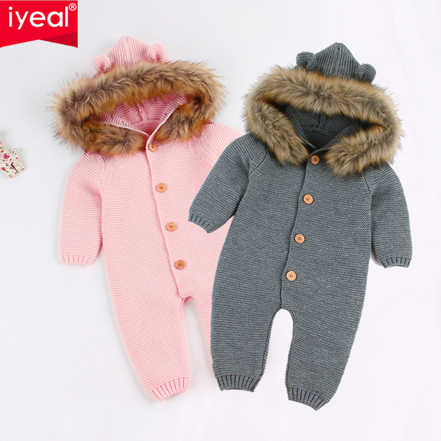 527c821a915 IYEAL Newest Infant Baby Rompers Winter Clothes Newborn Baby Boy Girl  Knitted Sweater Jumpsuit Hooded Fur