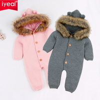 IYEAL Newest Infant Baby Rompers Winter Clothes Newborn Baby Boy Girl Knitted Sweater Jumpsuit Hooded Fur Kid Toddler Outerwear
