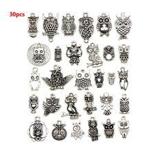 30 Pcs Handmade DIY Bracelet Necklace Accessories Owl Shape Pendant Set Ancient Silver Jewelry Decoration недорго, оригинальная цена