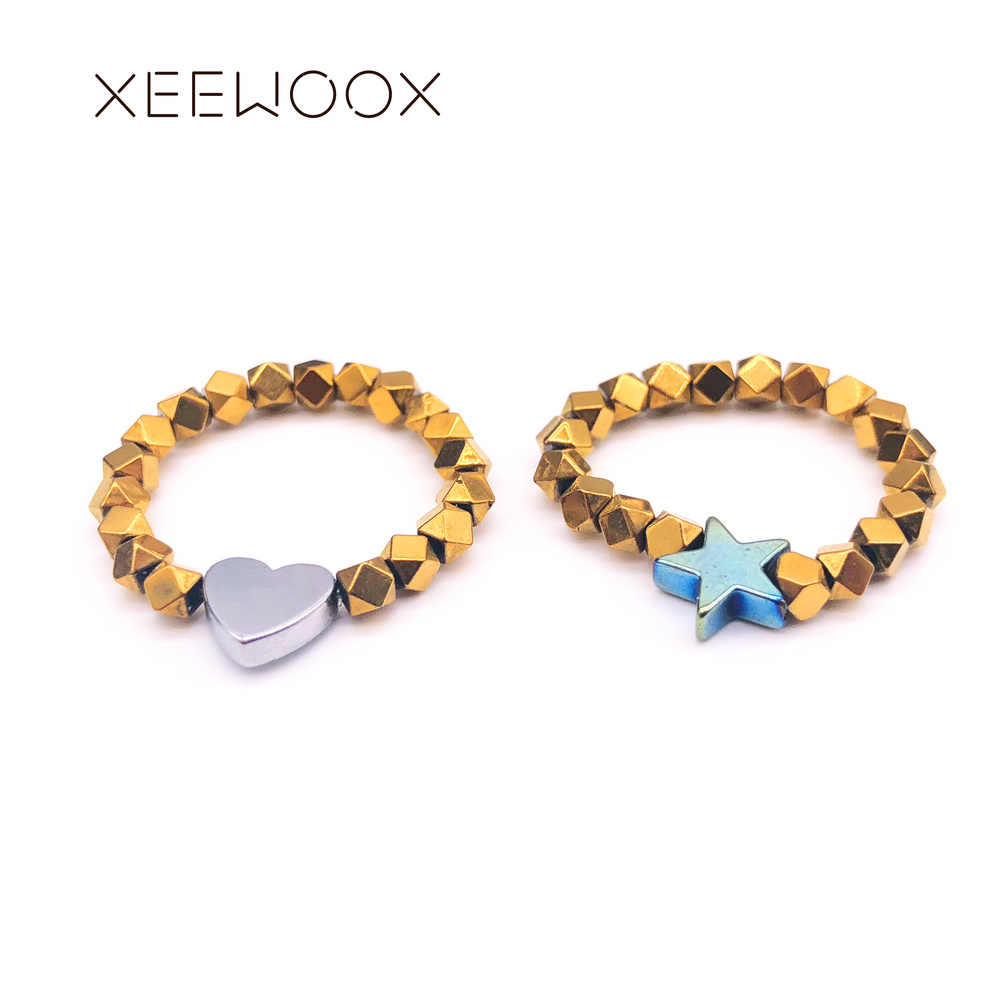 Gold Beads Rings For Women Star Heart Ring XEEWOOX 2019 New Classic Fashion Vintage Ring Beads Adjustable Love Ring
