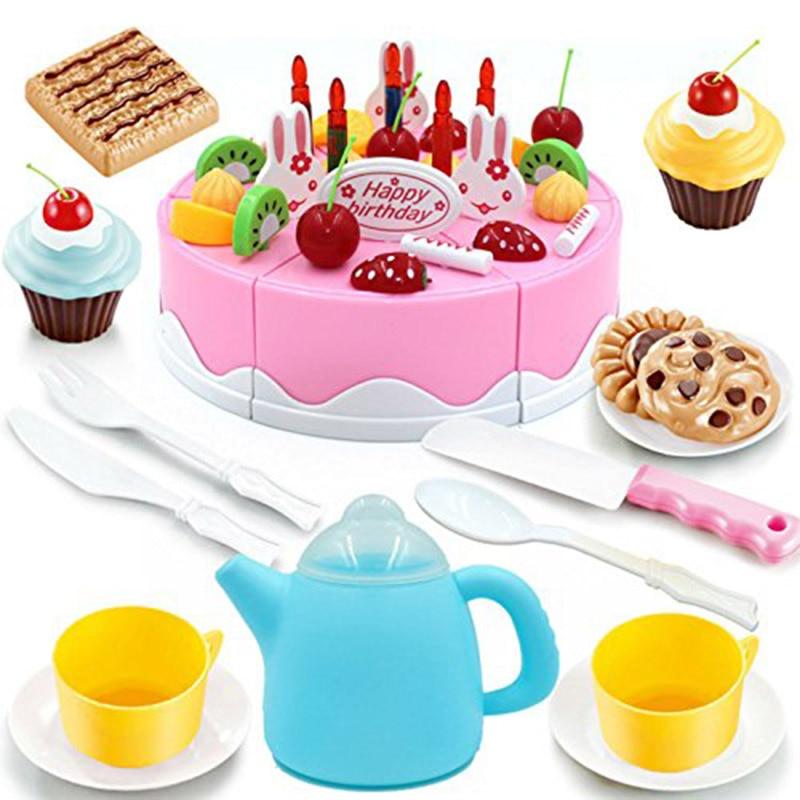 VertrauenswüRdig 54 Teile/satz Baby Pretend Play Küche Spielzeug Kunststoff Lebensmittel Kuchen Eis Schneiden Messer Tee Topf Und Tassen Set Kinder Spielzeug Geschenk Taille Und Sehnen StäRken