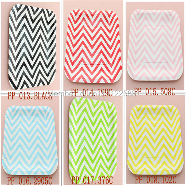 Disposable 7  Square Paper Plates Party Supplies Chevron Paper Plates  sc 1 st  AliExpress.com & Disposable 7