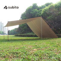 SUBITO Beach Tent Tarp Camping Pergola Multi function Ultralight Tarp Outdoor Hiking Camping Tent( 3m*5m, Green and Brown )