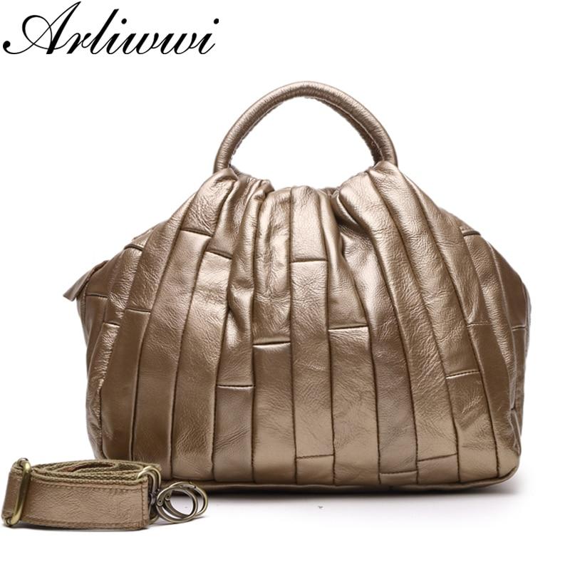 Arliwwi Brand Designer REAL LEATHER Tote Handbag For Women Genuine Cowhide Handmade Patchwork Elegant Cross Body Bags Lady