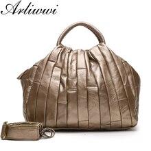 Arliwwi Designer จริงหนัง Tote กระเป๋าถือผู้หญิง Cowhide Handmade Patchwork CROSS Body กระเป๋า Lady GJ01