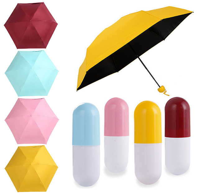 Fashion Kecil Lipat 5 Kapsul Payung Hujan Wanita Hadiah Pria Saku Mini Gadis-gadis Payung Anti Sinar UV Tahan Air Portabel Perjalanan