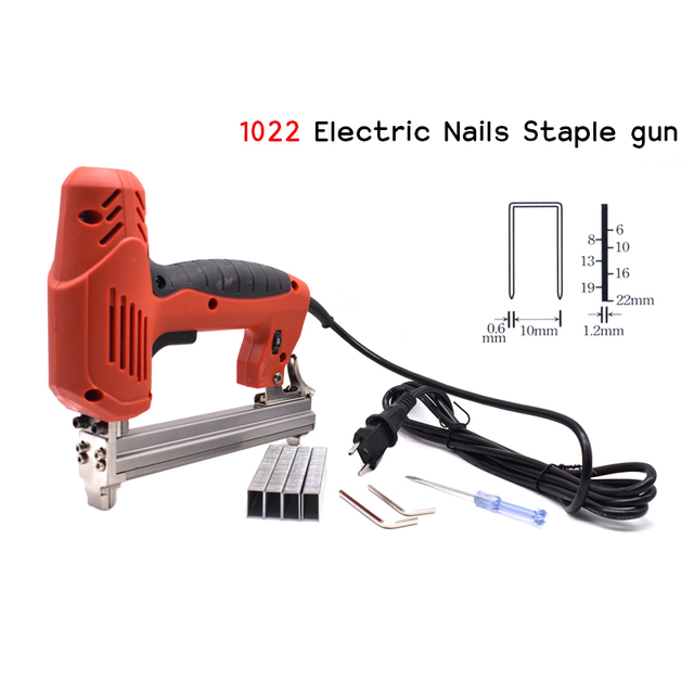 1022J Framing Tacker U Stapler Electric Staples Gun With 300Pcs Nails 220V 2000W Electric Power Tools For Woodworking Hand Tool