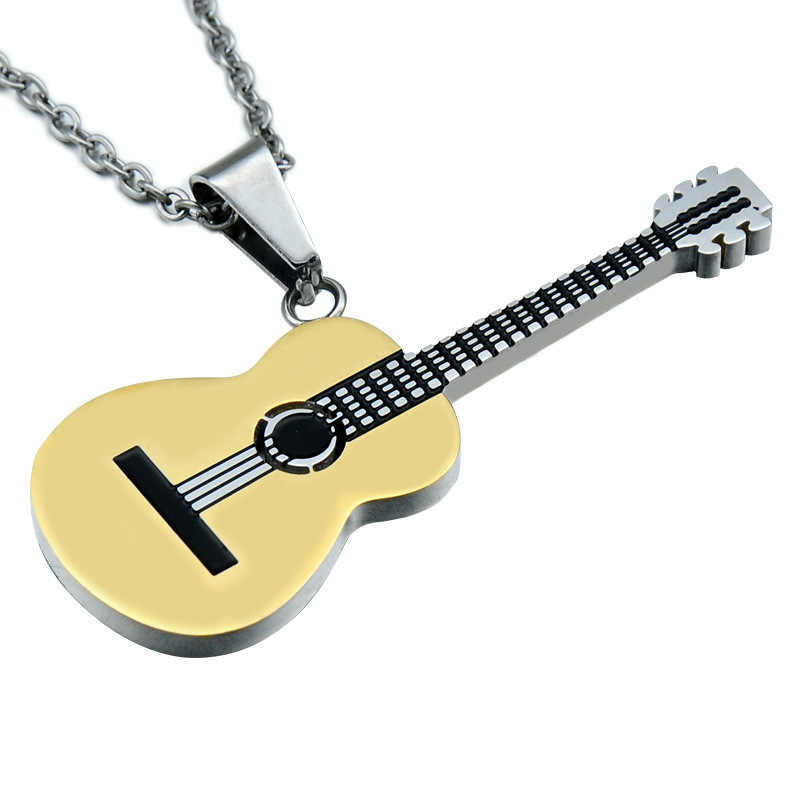 3 Colour Titanium Stainless Steel Pendant Necklace Two Tone Gold Color Music Guitar Necklaces for Men/Women Jewelry For Gift