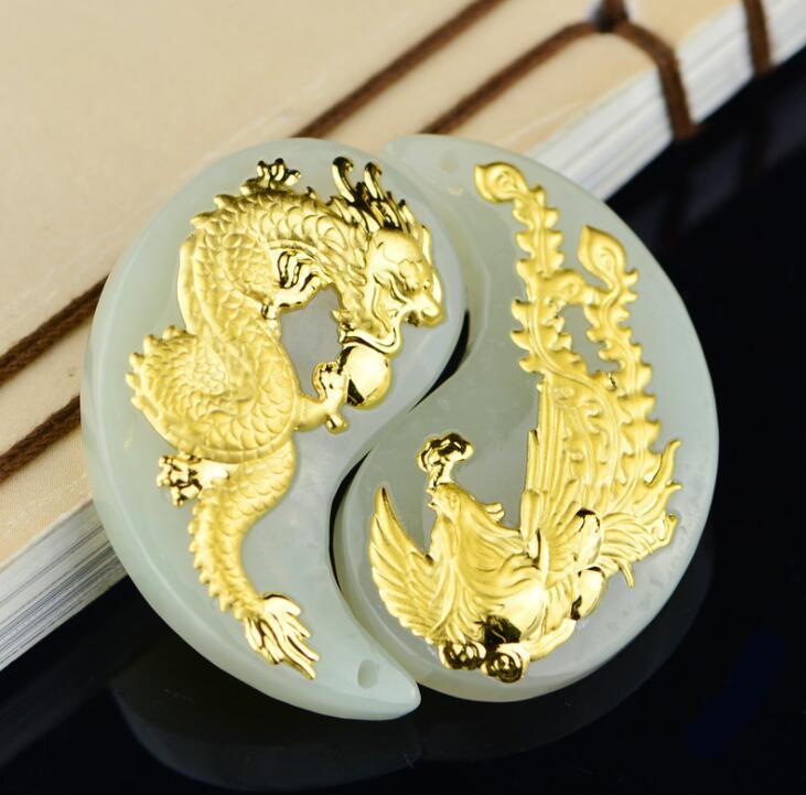 2018 Nuovo di Stile del Drago di Giada di Buona Qualità Unisex Pendenti con gemme e perle Sulle Vendite Calde Degli Uomini di Sconto Collana Dei Monili Delle Donne