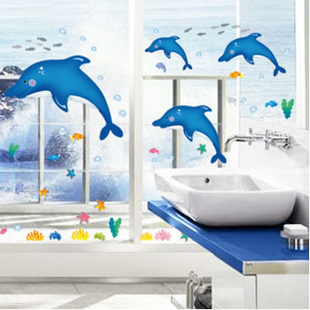 Fundecor diy home decor animals dolphin wall stickers for Autocollant mural
