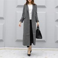 Европейской и американской моды дамы 2018 новое зимнее пальто в стиле ретро узор гусиные лапки плед шерсть кашемир шерстяное пальто толстый
