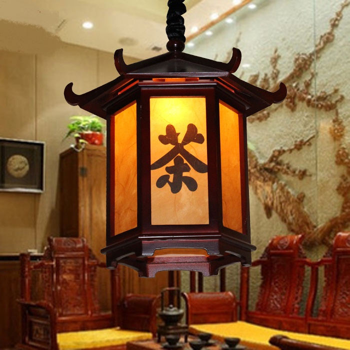 Chinese style pendant light dining room study restaurant Wooden classical creative Pavilion wood imitation sheepskin lamp ZH chinese style classical wooden sheepskin pendant light living room lights bedroom lamp restaurant lamp restaurant lights