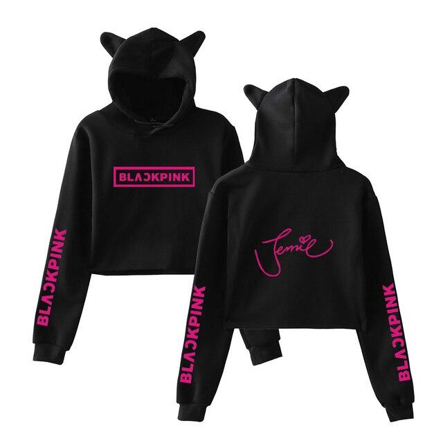 Blackpink Cat Ear Cropped Top Hoodies fashion trend sala Sexy Crop Top Women Hoodies Short Sweatshirt Sexy hot Kpop Harajuku