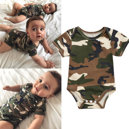 2019 Newborn <font><b>Baby</b></font> Boy Girls Bodysuit Cotton Camo <font><b>Body</b></font> For Toddler <font><b>Baby</b></font> Jumpsuit Camouflage Clothes Summer image
