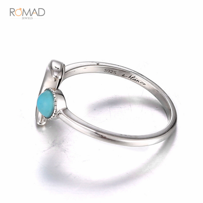 925 Sterling Silver Ring Moon Blue Stone Adjustable Open Rings For Women Lovers Wedding Jewelry in Rings from Jewelry Accessories