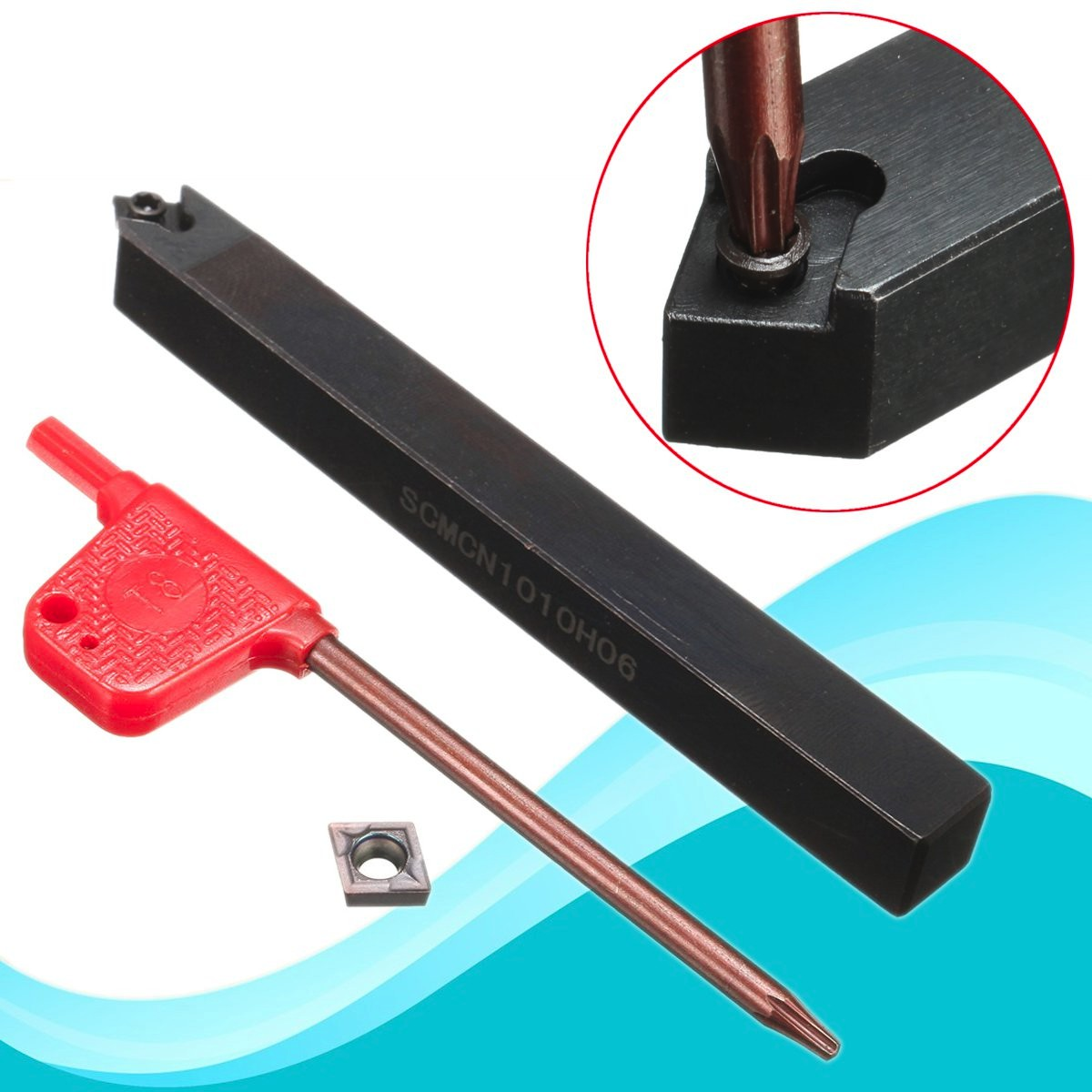 1Set SCMCN1010H06 Lathe Turning Boring Tool Holder 10mm With CCMT060204 Insert + T8 Wrench