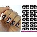 2016 Papel de Transferencia de Agua Nail Art Sticker Decoraciones Flor Blanca Negro Uñas Pegatina Decoración Manicura Finger Nail Wraps Decal