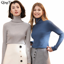 2018 Turtleneck Pullover Sweaters Winter Women Ribbed Knit Sweater Long Sleeves Stand Collar Knitted Top Knitwear Female Jumper