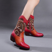 Original Fall and Winter New Bohemian Leather Boots Female Retro Floral Round Toe Handmade Mid-Calf Women Plus Size 41-42