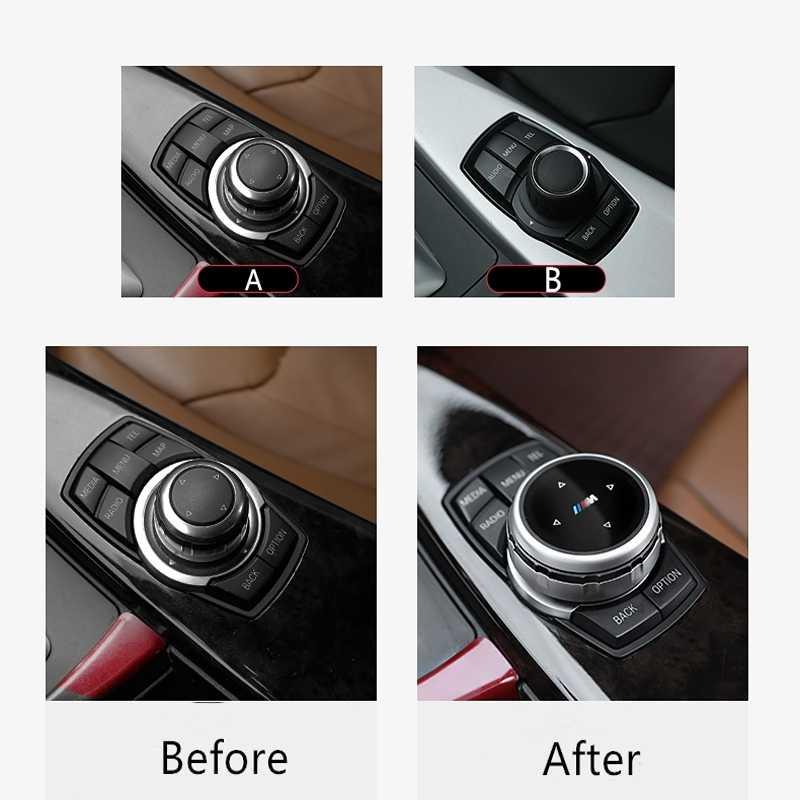 غطاء أزرار الوسائط المتعددة للسيارة id5v ملصقات شعار M لسيارة BMW X1 X3 X5 X6 F30 E90 E92 F10 F18 F11 F07 GT Z4 F15 F16 F25 F34 E84