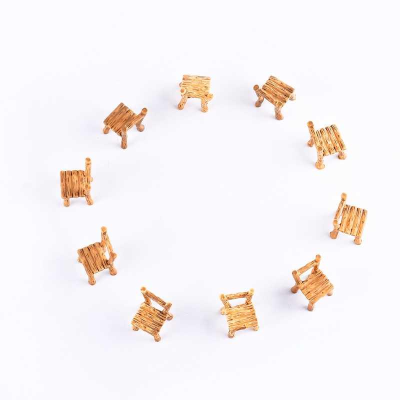 Смола садовые стол и стул украшение фигурки мини Пейзаж орнамент фея, миниатюрная ремесло