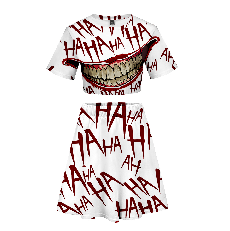 Frdun Tommy Haha Joker 3d Short Skirt Suit Short Sleeve T-shirt And Short Skirt Two Piece Kpop Girl Casual Kpop Style Sets By Scientific Process