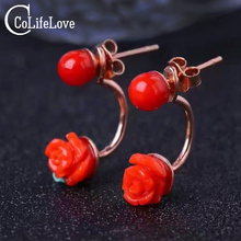 Fashion red coral stud earrings flower shape natural red coral solid 925 silver coral earrings romantic coral jewelry for woman