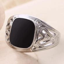Size 7-11 2015 Fashion High-end Men 925 Silver Fine Jewelry Punk Titanium Steel Gem Ring Retro Black Enamel Rings For Men sa783
