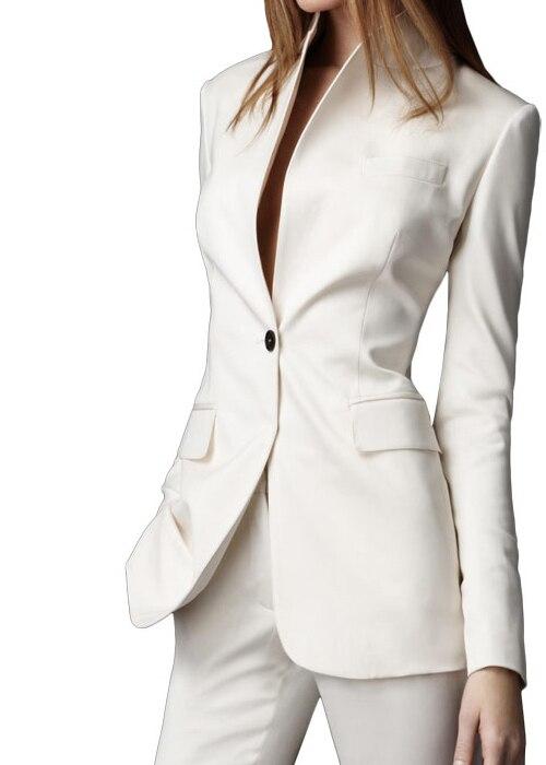 Top Herfst Custom made Wit Casual Vrouwelijke 2015 Enkele Knop Dames @IT04
