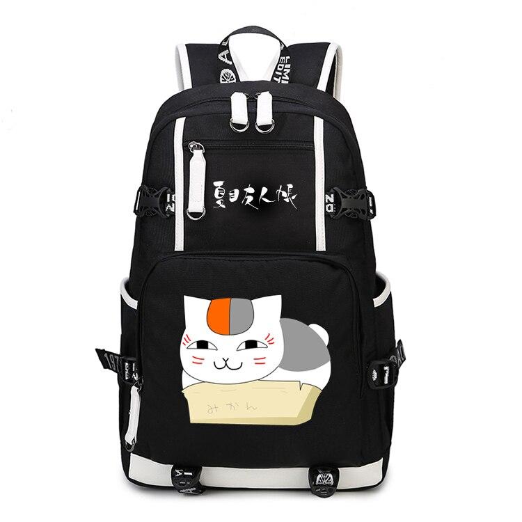 Natsume yuujinchou sac à dos Cosplay chat professeur Natsume Takashi Anime sac en toile cartable lumineux sacs de voyage